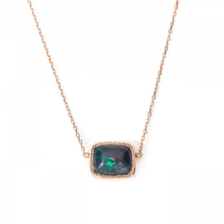 Colier din Aur Roz 14 K cu Opal