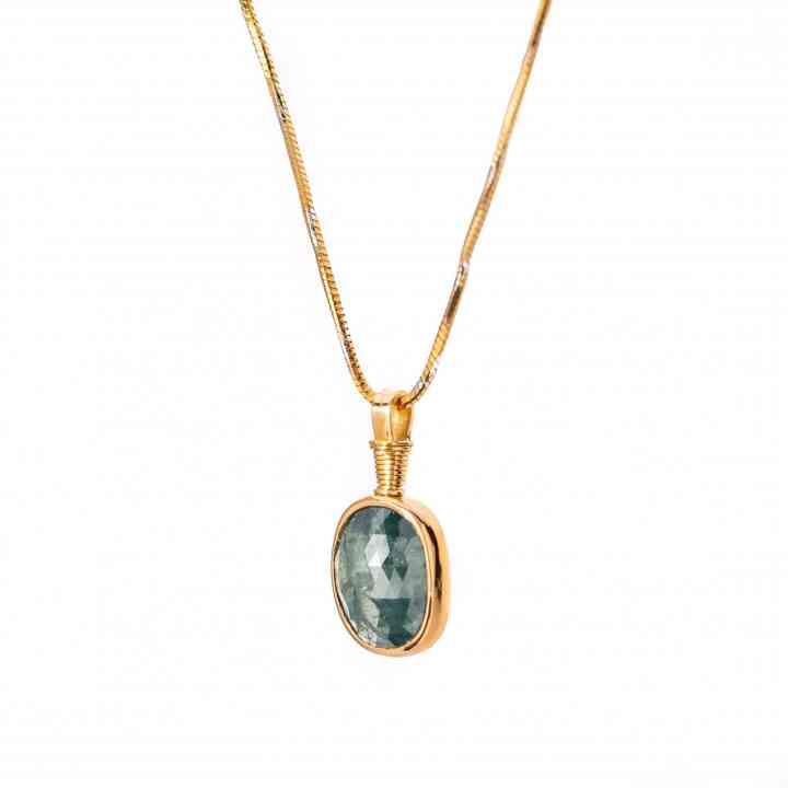 Colier Aur Galben 18K cu Diamant Brut Verde
