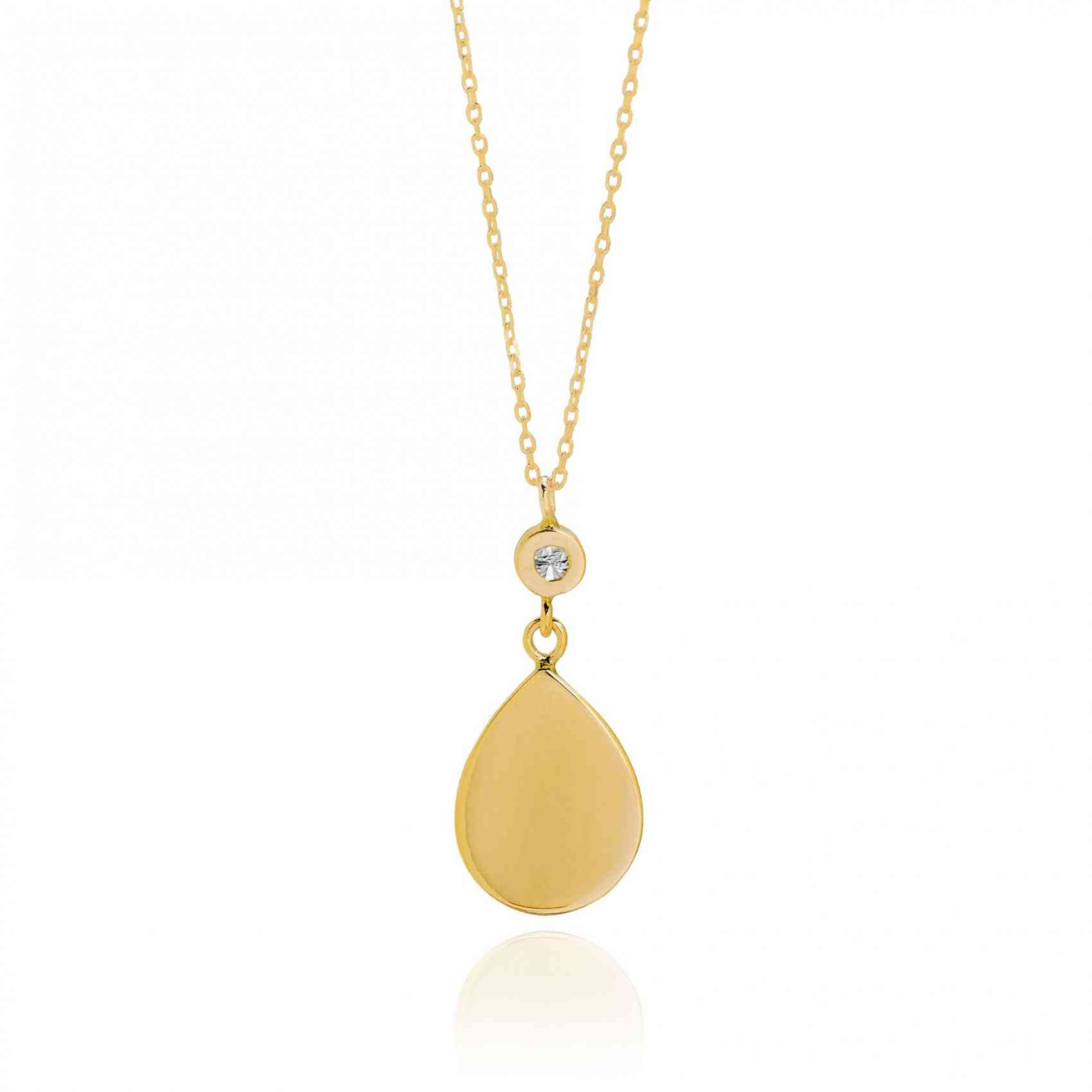 Colier din Aur Galben de 18K cu Safir Maro si Diamant