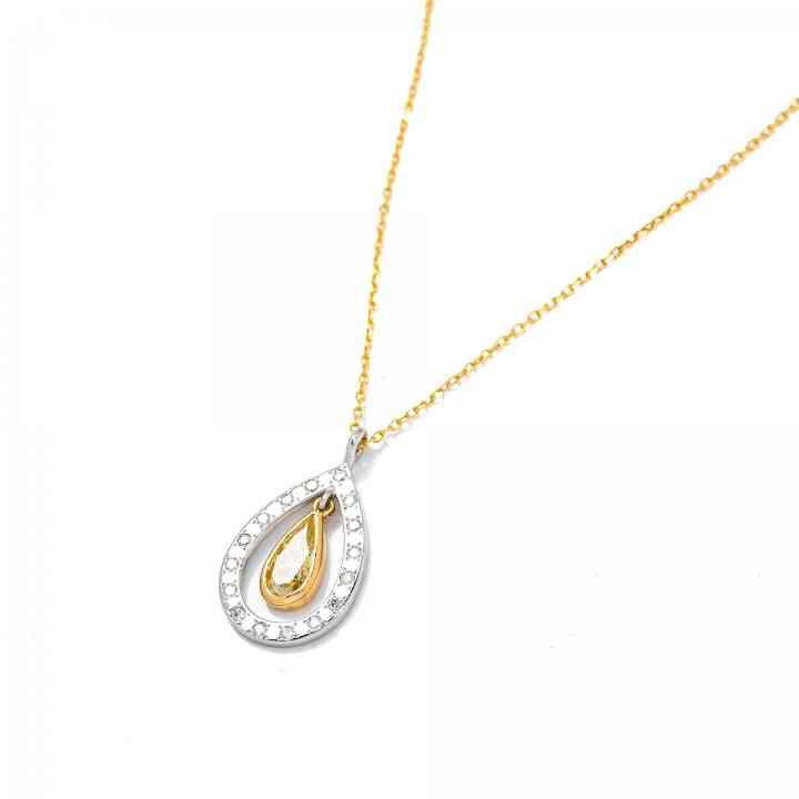 Colier din Aur Alb si Galben de 18K cu Diamante