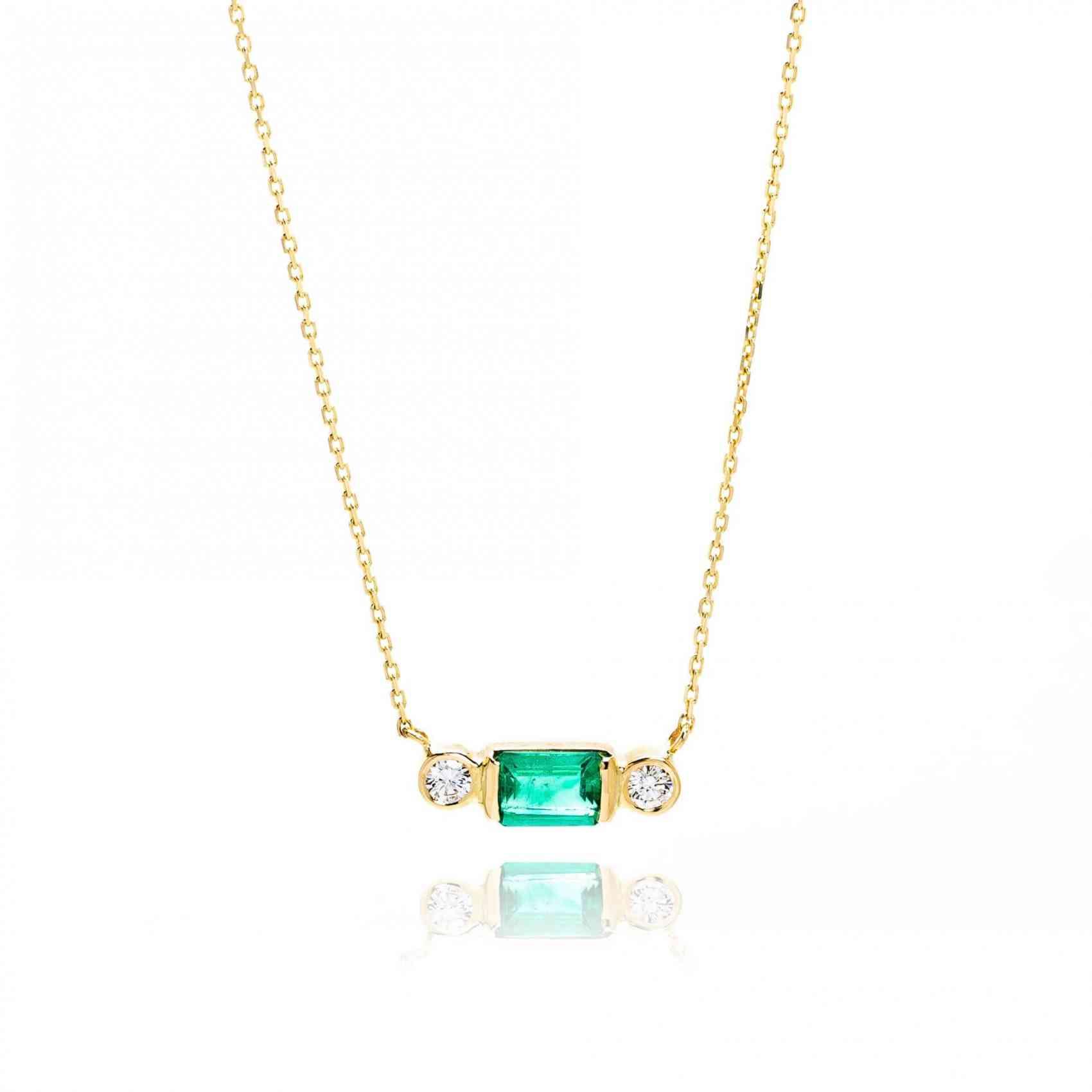 Colier din Aur Galben 18K cu Smarald si Diamante