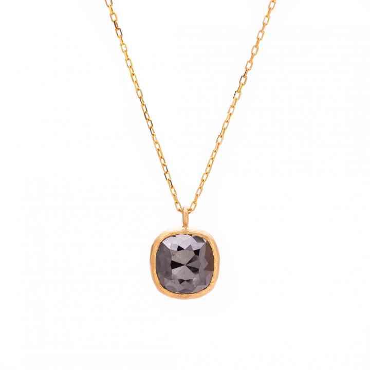 Colier Aur Galben 18K cu Diamant Brut Negru