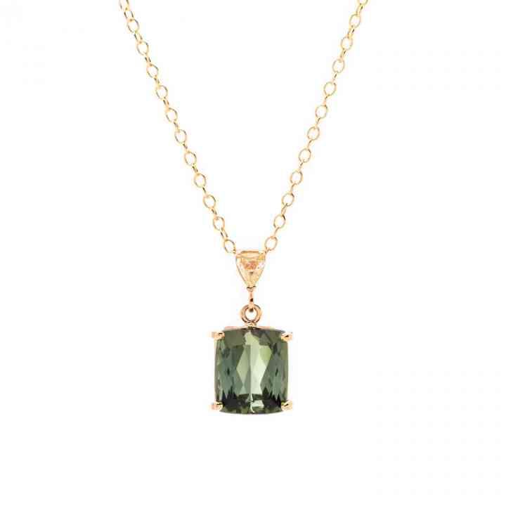 Colier Aur Galben 18K cu Turmalina si Diamant Galben