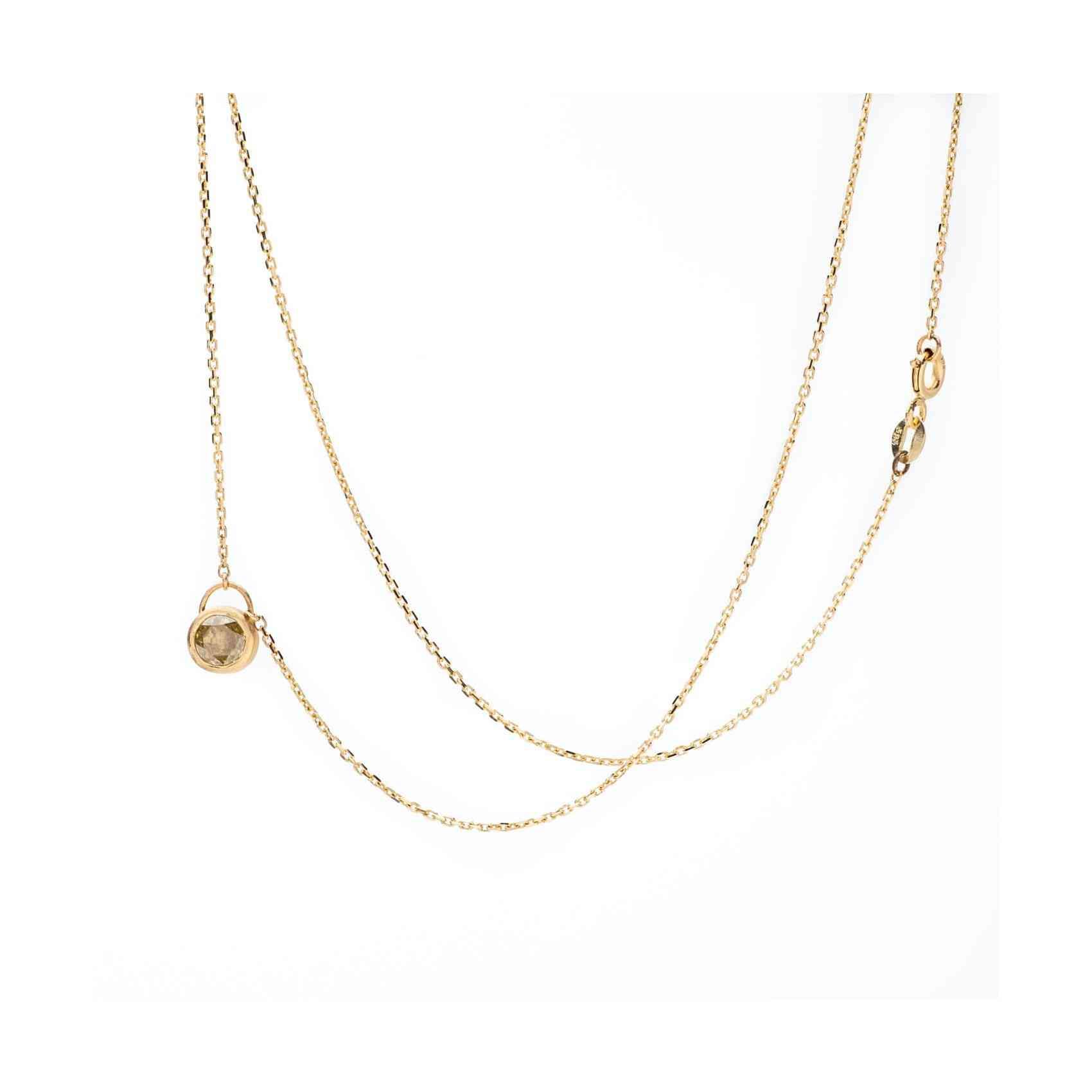 Colier Aur Galben 18K cu Diamant Galben