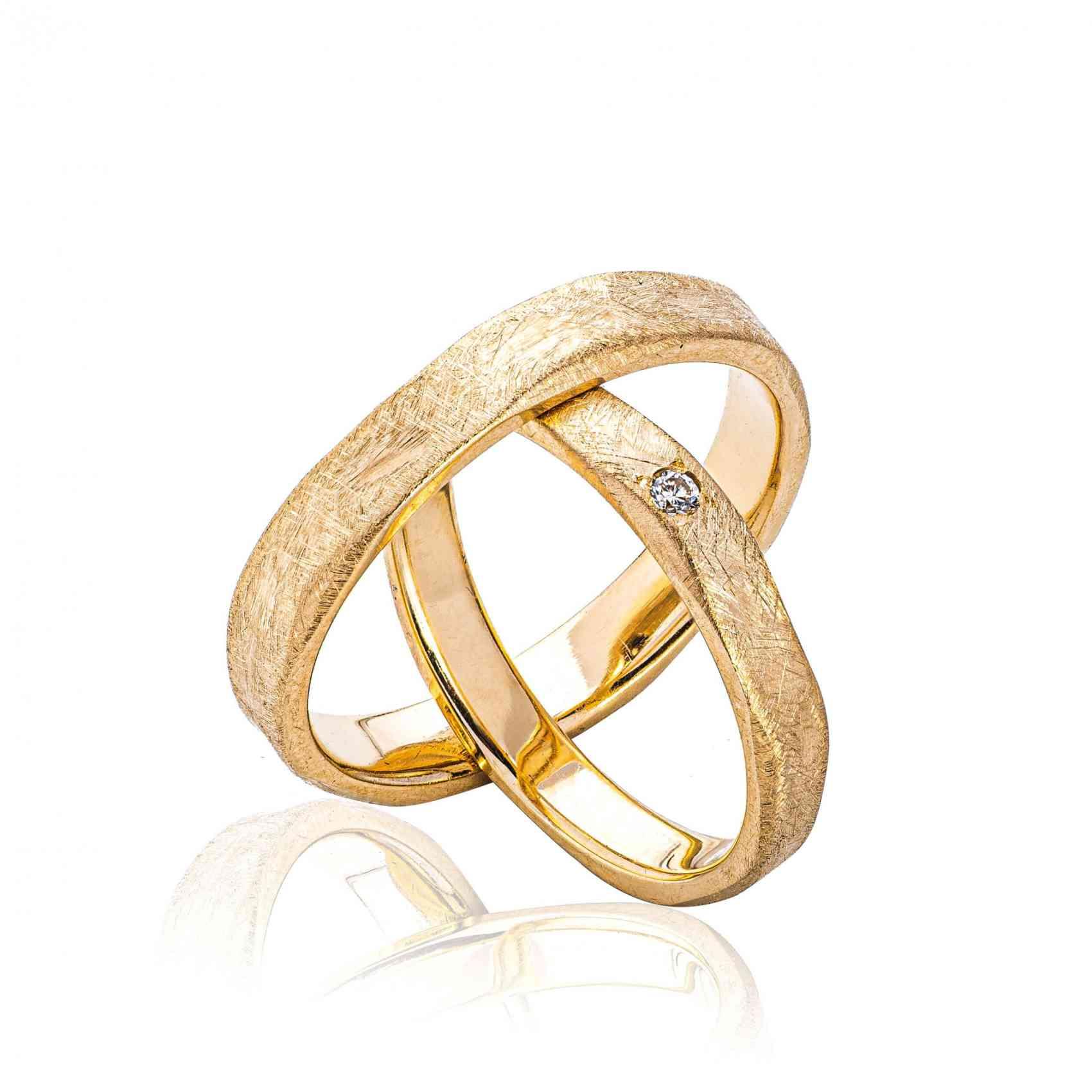 Set Verighete Primo din Aur Galben 14 K cu Diamant