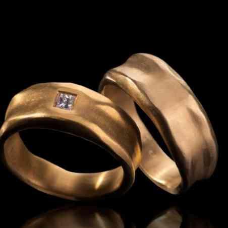 Set Verighete Reflex din Aur 14k cu Diamant
