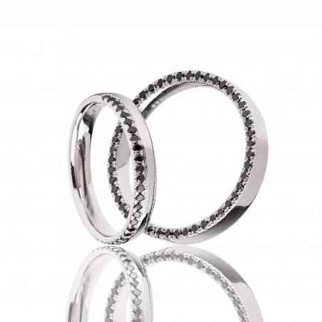 Set Verighete Ripple din Aur Alb 14K cu Diamante