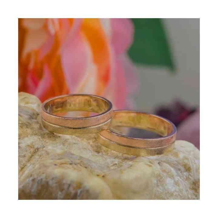 Set Verighete Rumba din Aur Roz și Aur 14K