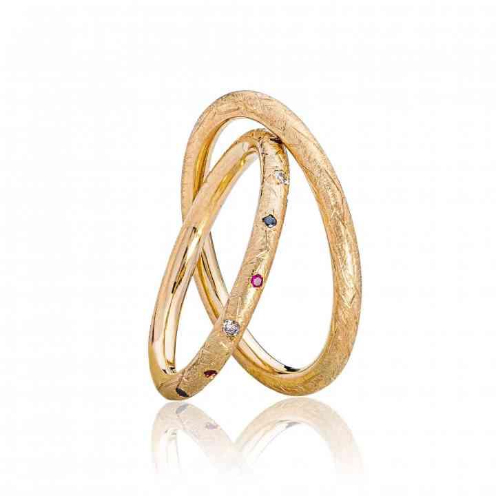 Set Verighete Sappho Multi din Aur Galben 14 K cu Rubine si Diamante Albe si ...