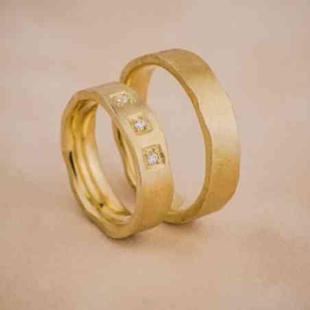 Set Verighete Șigal Aur 14K cu Diamante