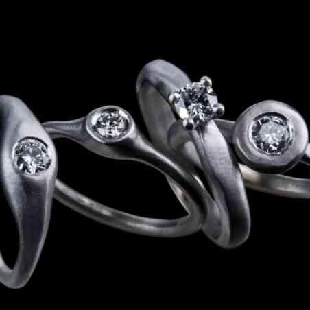 Inel de Logodnă din Aur Alb 18k cu Diamant