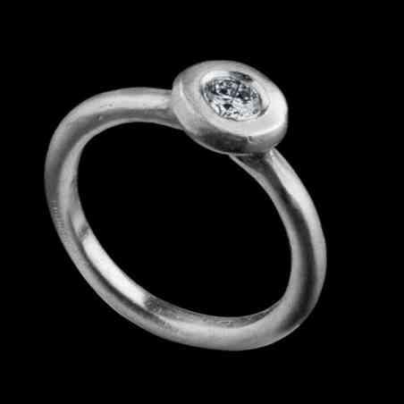 Inel de Logodna din Aur Alb 18k și Diamant
