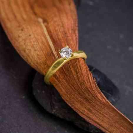 Inel Logodnă Aur 18K cu Diamant Alb