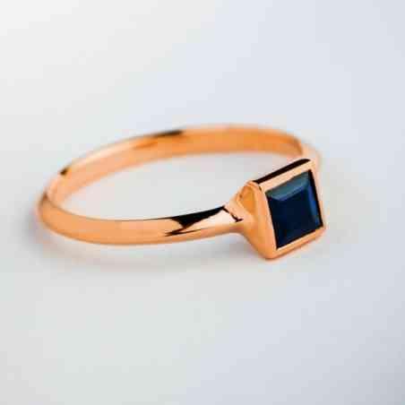 Inel Logodnă Aur Roz 18K cu Safir
