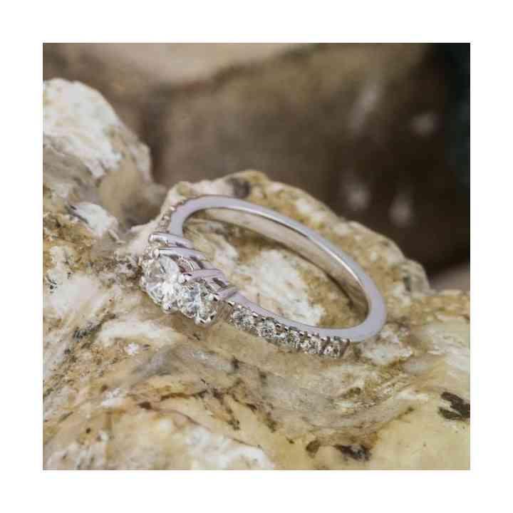 Inel Logodnă din Aur Alb 18K și Diamante