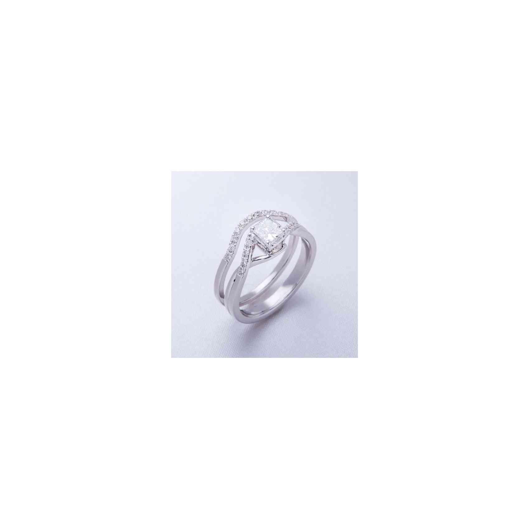Inel de Logodnă și Verighetă Duo din Aur Alb 18K cu Diamante