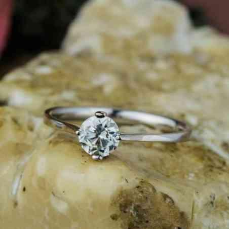 Inel Logodnă Aur Alb 18K, Diamant Alb