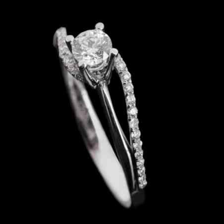 Inel de Logodnă Damaris din Aur Alb 18k cu Diamante