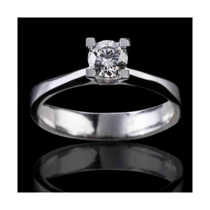 Inel de Logodnă Solitaire din Aur Alb 18k cu Diamant