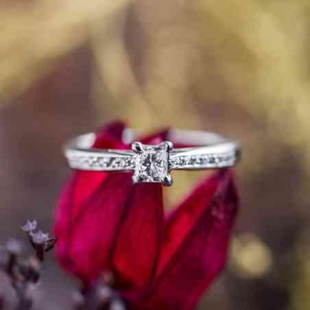 Inel Logodnă Aur Alb 14K cu Diamant Alb
