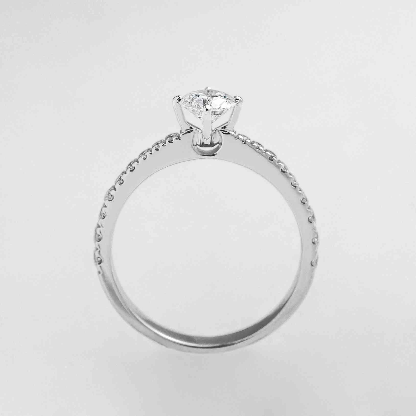 Inel Logodnă Aur Alb 18K, Diamante