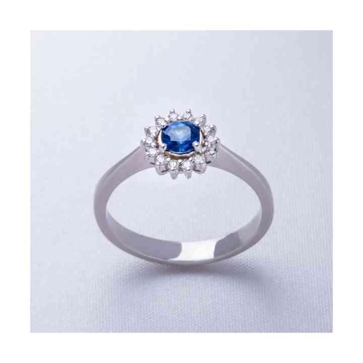 Inel Logodnă din Aur Alb 18K cu Safir și Diamante
