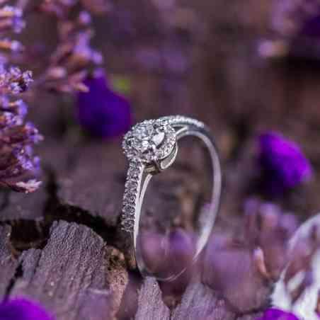 Inel Logodnă Halo Aur Alb 14K și Diamante