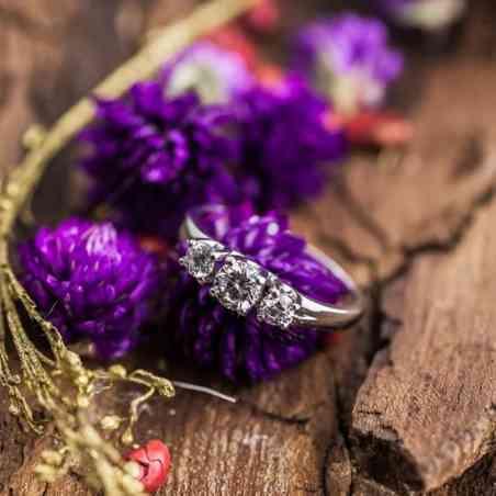 Inel de Logodnă Aur Alb 18k și Diamante
