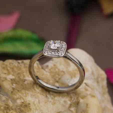 Inel de Logodnă Halo din Aur Alb 18K și Diamante