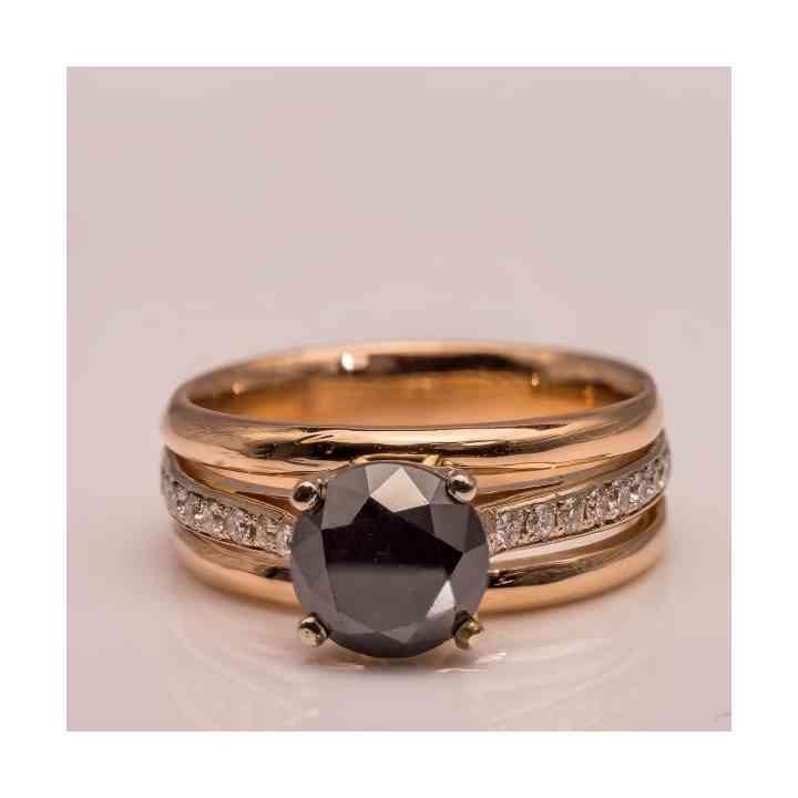 Inel Logodnă Aur și Aur Roz 14K și Diamante
