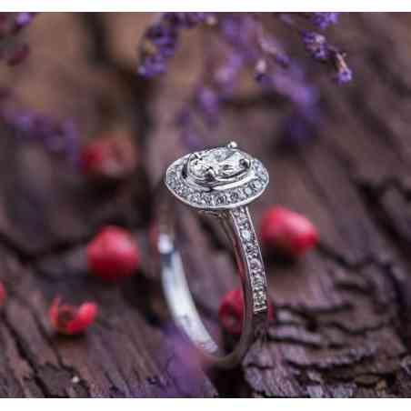 Inel Logodnă Aur Alb 14K cu Diamante