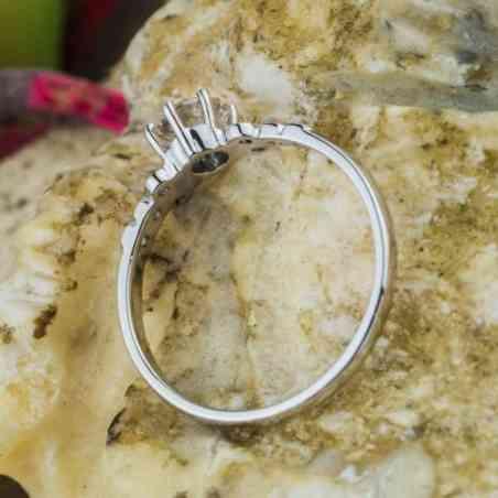 Inel Logodnă Aur Alb 18K cu Diamante
