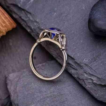 Inel Logodnă Aur Alb 18K cu Safir și Diamante