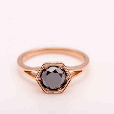 Inel Logodnă Aur Roz 14K cu Diamant Negru