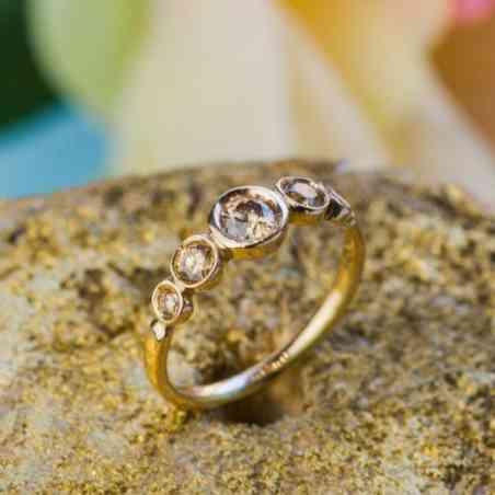Inel Logodnă din Aur 14K și Diamante maro