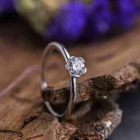 Inel Logodnă din Aur Alb 18K cu Diamant