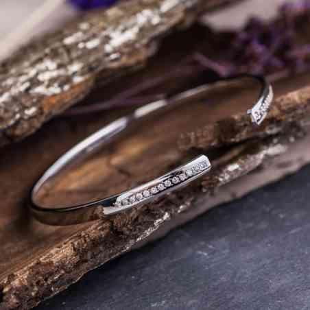 Brățară Aur Alb 14K cu Diamante