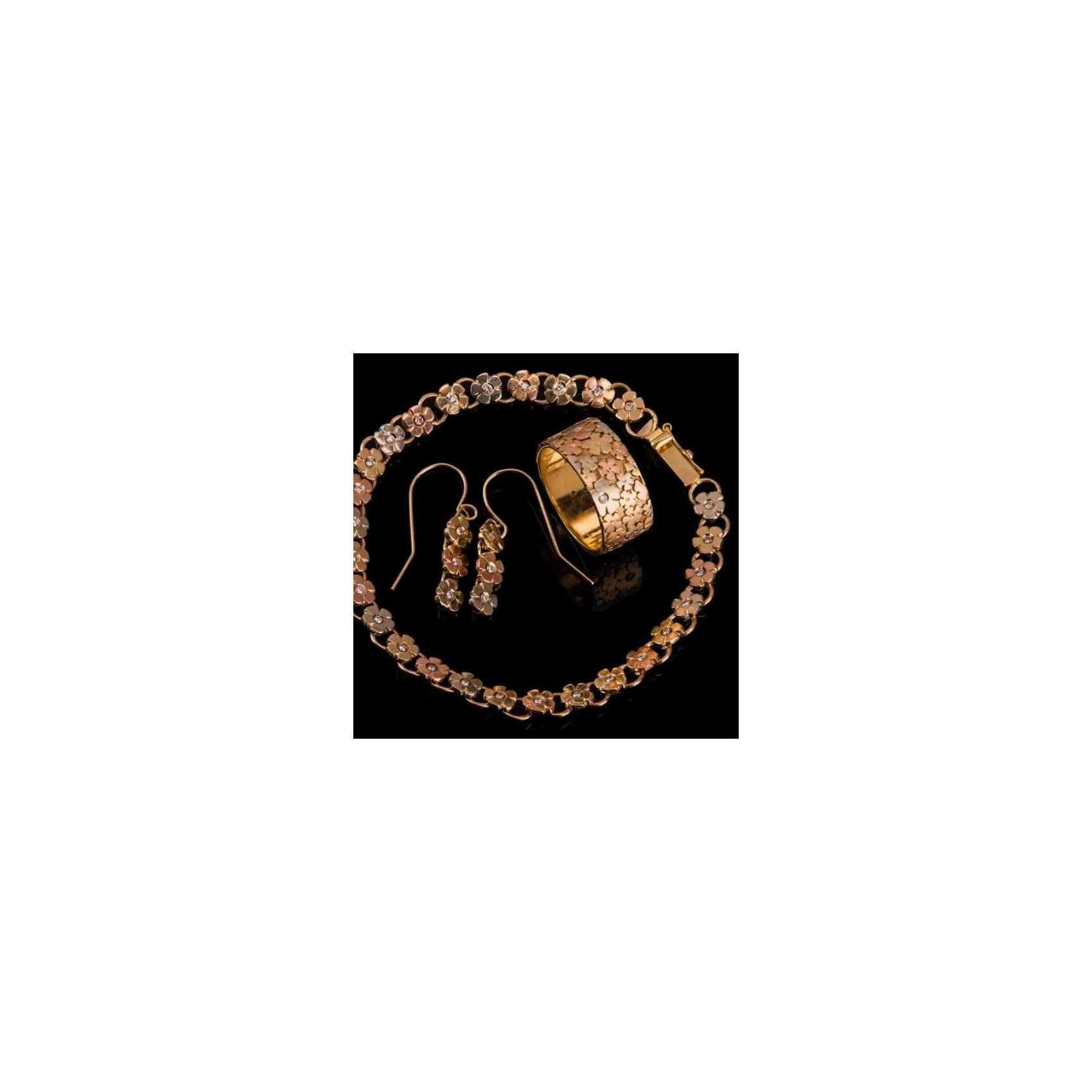 Set Inel, Cercei & Brățară din Aur 14k cu Diamante