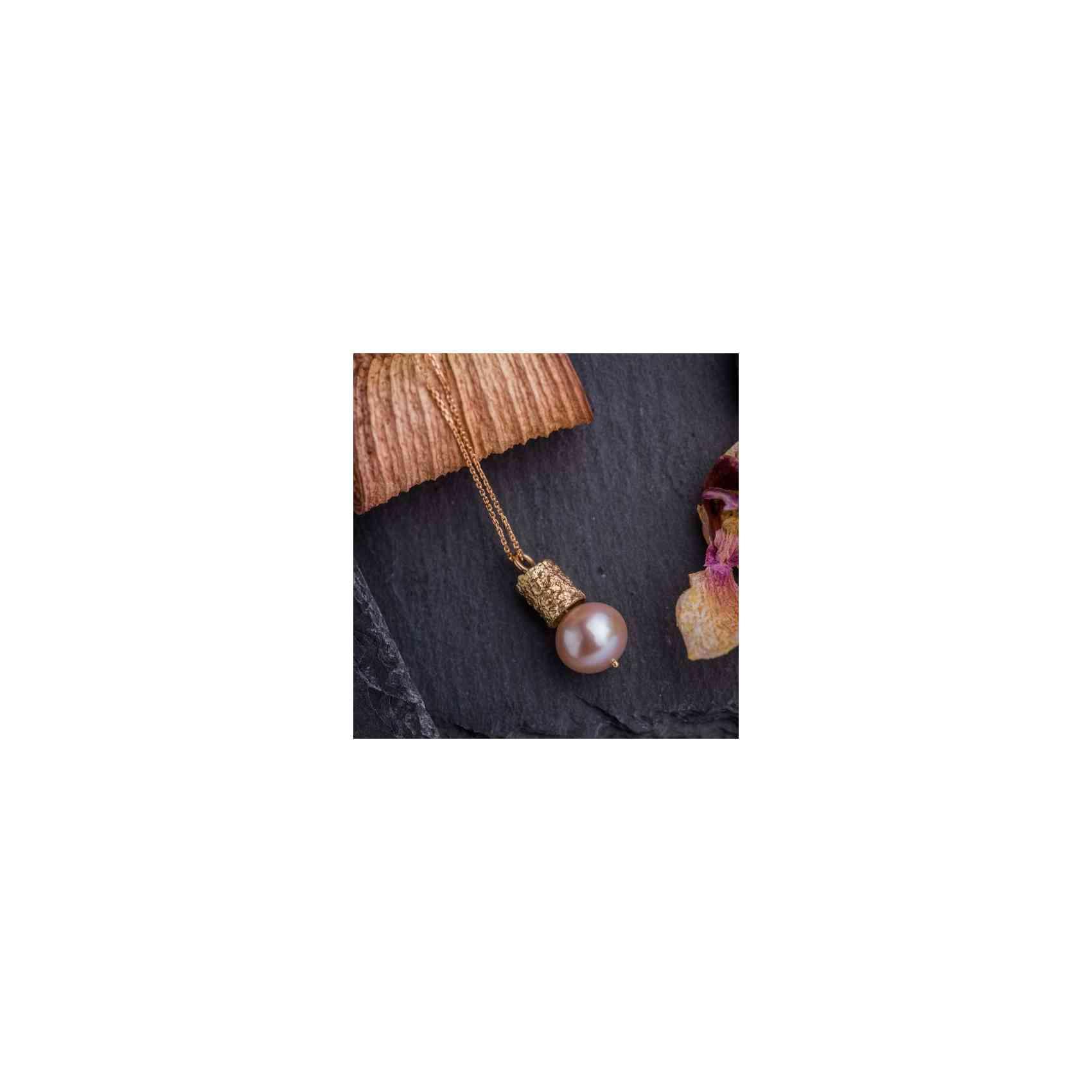 Colier și Pandantiv Aur Roz 14K și Perlă