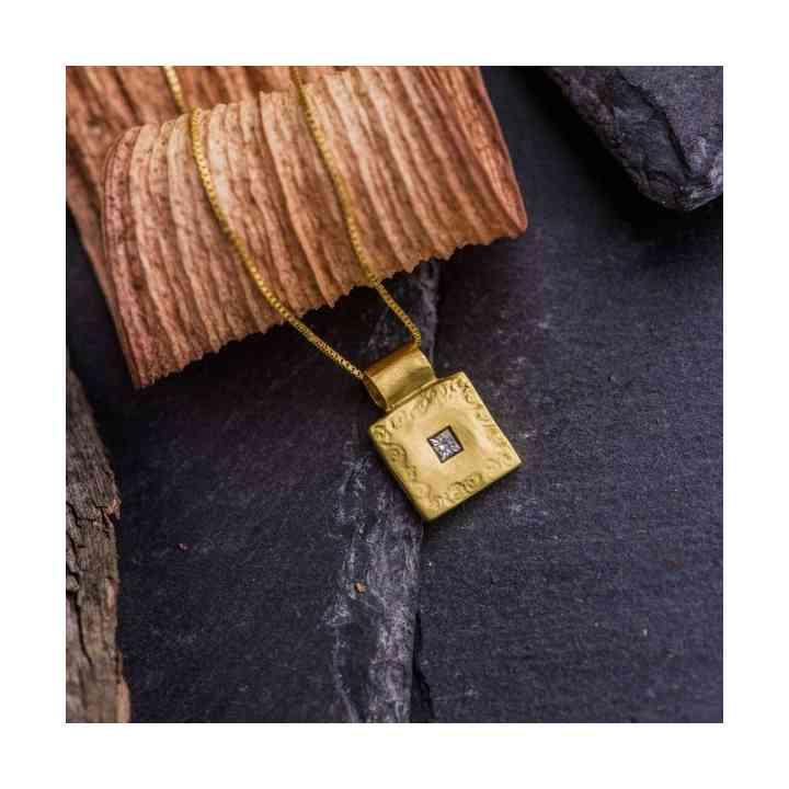 Colier și Pandantiv Aur 18K cu Diamant