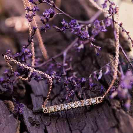 Colier și Pandantiv Aur Galben și Aur Roz de 14K cu Diamante