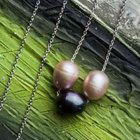 Colier din Aur Alb 14k cu Perla Tahitiană și Perle Roz