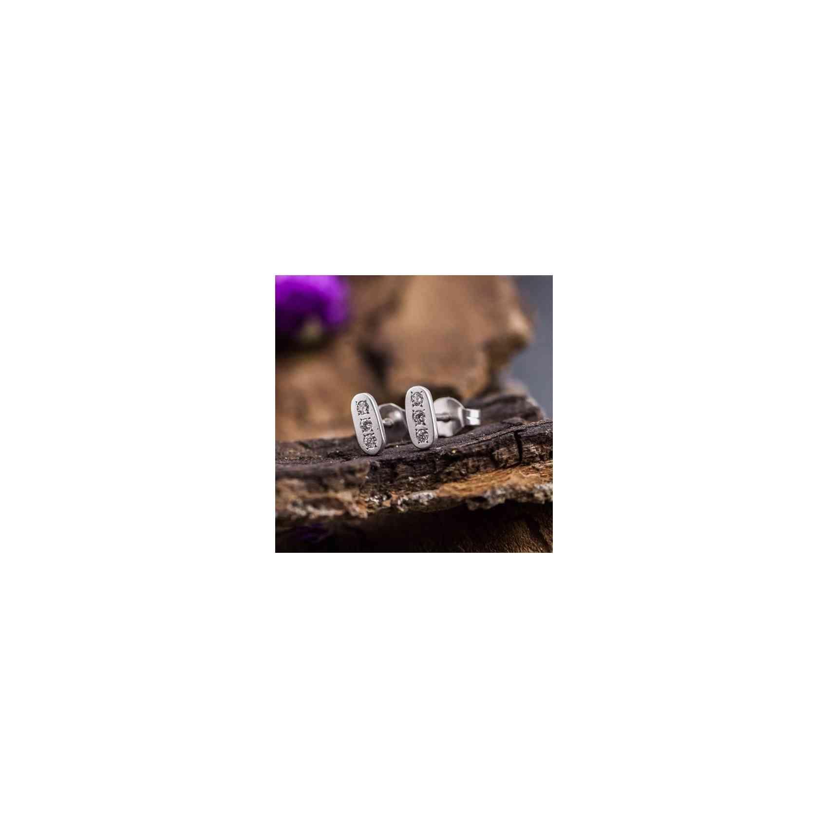 Cercei din Aur Alb de 14k și Diamante