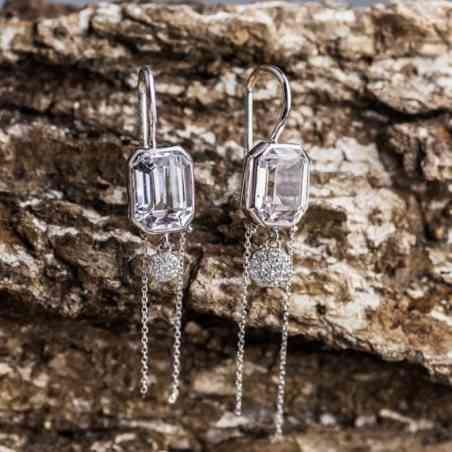 Cercei Aur Alb cu Diamante și Zirconiu