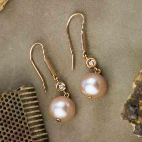 Cercei Aur Roz 14k cu Perle Roz și Diamante
