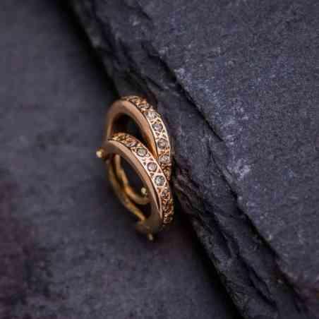 Cercei Aur Roz 14K cu Diamante