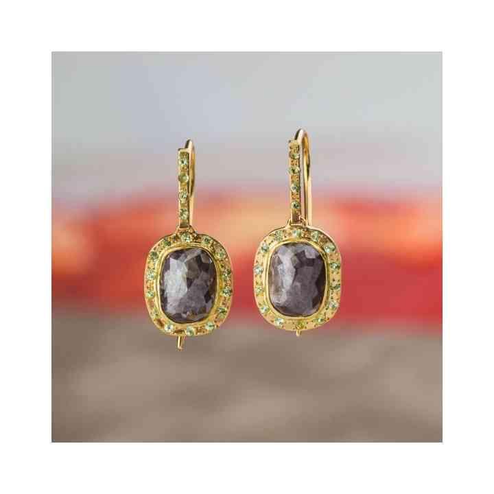 Cercei din Aur 18K cu Diamant brut și Peridot verde