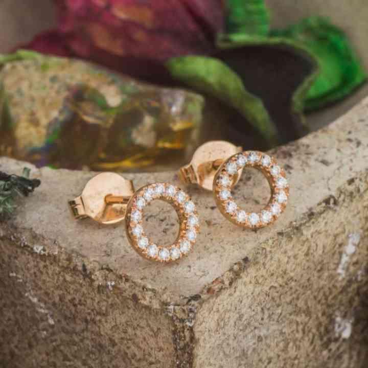 Cercei din Aur Roz 14K cu Diamante