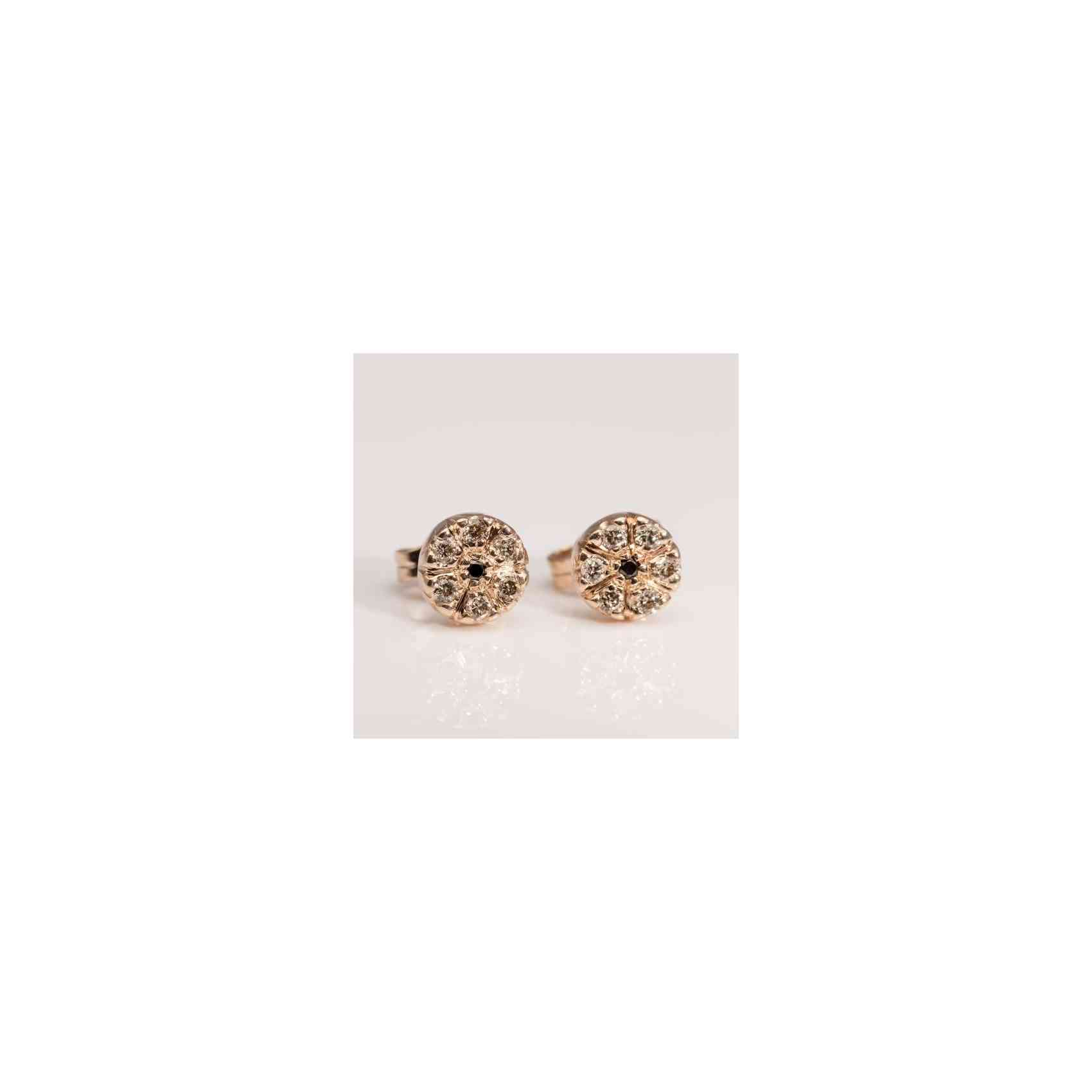 Cercei din Aur Roz 14k cu Diamante Negre și Aurii
