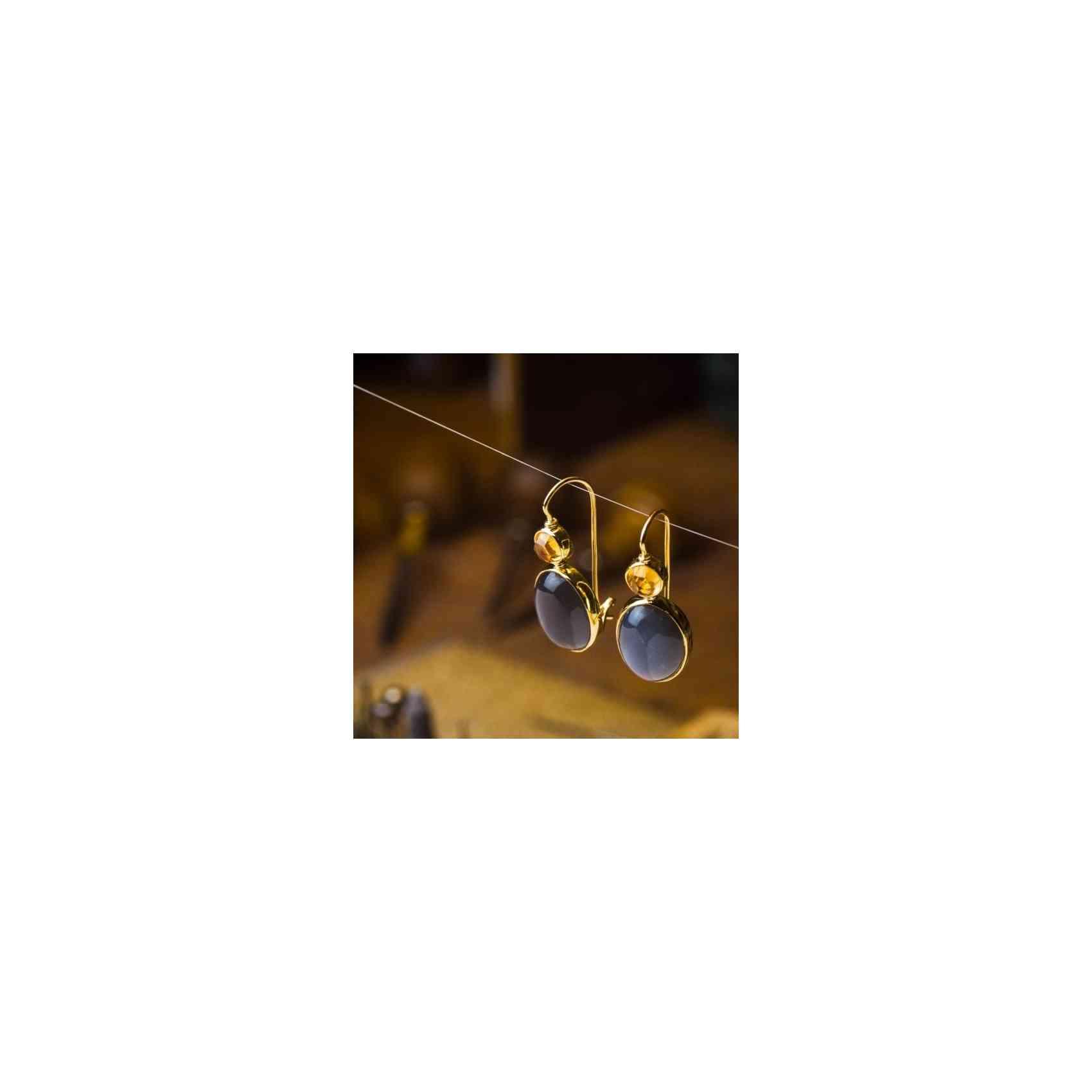 Cercei Aur 18K cu Adular și Citrin